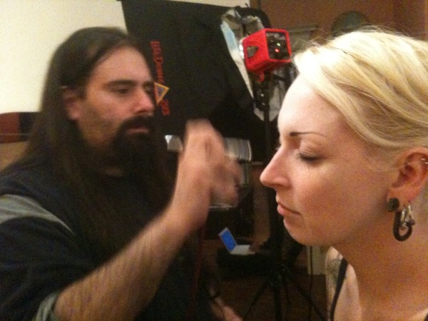 Vince airbrushing me. Photo by Kyle Cassidy